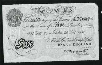 Counterfeit five-pound note produced by the Nazis